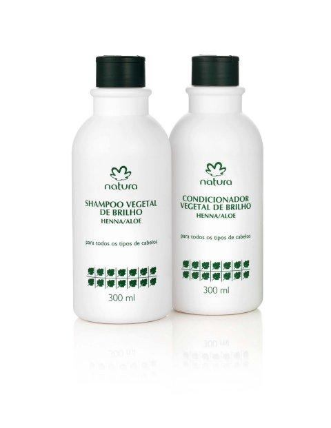 Natura Vegetal de Brilho Henna Aloe Shampoo e Condicionador