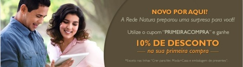 Cupom de Desconto Natura Primeira Compra no Espaço Natura Carolina do Valle