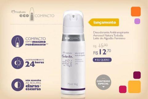 Promoção Natura Tododia Leite de Algodão Desodorante Aerossol EcoCompacto Rede Natura Espaço Carolina do Valle de 20 até 26 01
