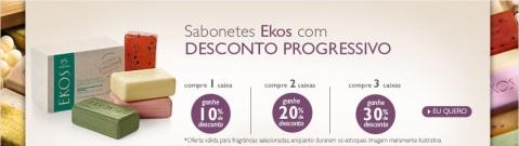 Promoção progressiva Natura Ekos Sabonetes no Espaço Natura Carolina do Valle