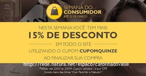 Cupom de desconto 15 por cento só no Rede Natura Espaço Carolina do Valle