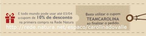 Rede Natura Espaço Carolina do Valle CUPOM DE DESCONTO TEAMCAROLINA