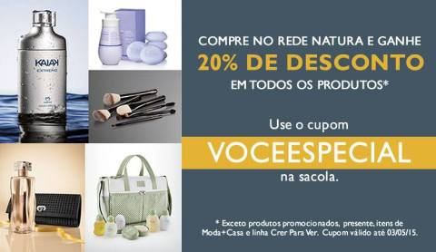 Cupom Natura 20% de Desconto VOCEESPECIAL no Rede Natura Espaço Carolina do Valle