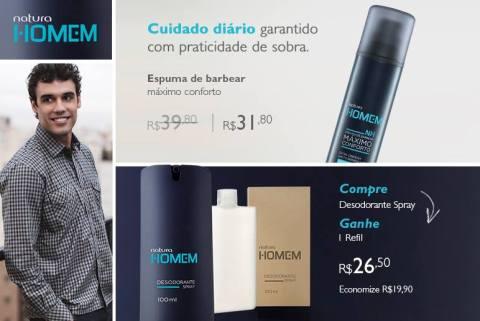 Promoções e Novidades da Rede Natura Espaço Carolina Do Valle (de 28 07 a 03 08) - Natura Homem
