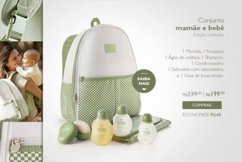 Promoção Rede Natura Espaço Carolina do Valle Natura Mamãe e Bebê Conjunto Especial Edição Limitada de 22 a 28 09 2015