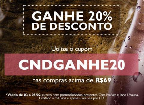Cupom de Desconto de 20% Rede Natura Espaço Carolina do Valle
