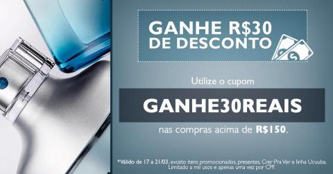 Cupom de R$ 30,00 de desconto na compra de produtos Natura acima de R$ 150,00